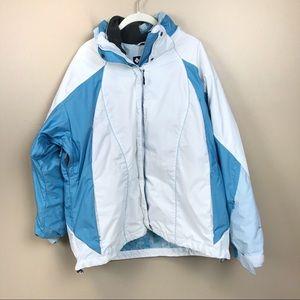 Columbia core interchange white blue parka coat 1x